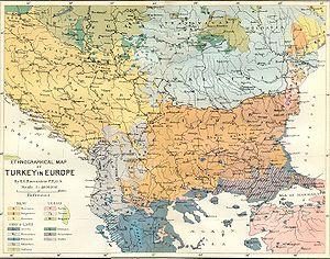 Български: Етнографска карта на Европейска Тур...