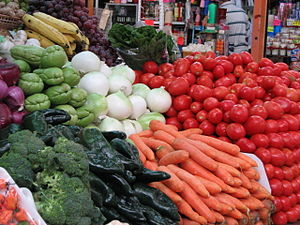 English: Bright colors of the farmers market. ...