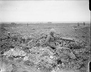 A British machine gun post in a captured trenc...