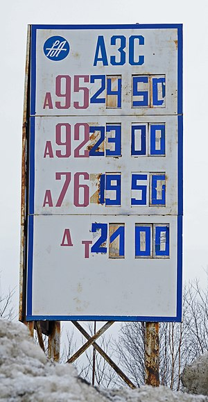 English: Petrol prices in Russia.