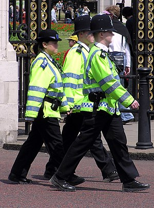 A PCSO on duty with two police constables. Not...