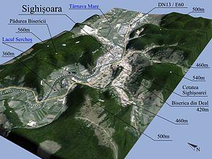 Română: Prelucrare 3D pentru Sighisoara, Romania.