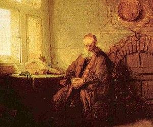 Rembrandt's Philosopher in Meditation (detail).