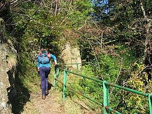 The Mill Glen walkway. The Ochil scarp is pene...