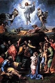 Transfiguración de Jesús, por Rafael y Giulio Romano (Museos Vaticanos, Roma).