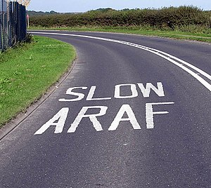 Welsh road markings seen near Cardiff Airport,...