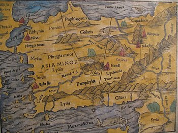 16th-century map of Anatolia from Münster's Co...