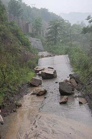 Damaged road near Dujiangyan, Sichuan