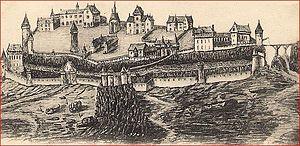Château de Carlat, gravue d'un dessin restitua...