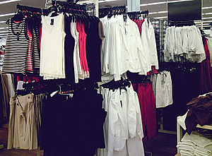 Clothing in store, ready to wear, off the rack...