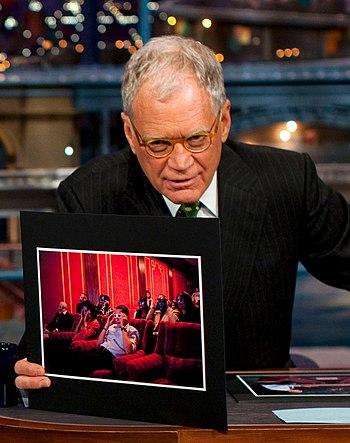 English: David Letterman hosting President Bar...