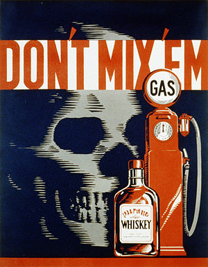 "Drunk driving safety poster. ""Don't mix '..."