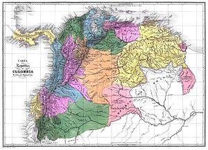 Carta de la República de Colombia dividida en ...