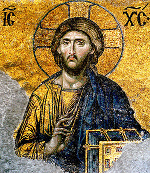 Jesus Christ - detail from Deesis mosaic, Hagi...