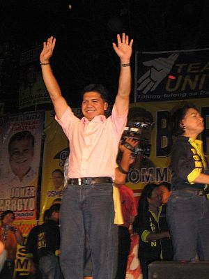 Mike Defensor at a political rally in Cebu City