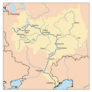 Map of the Volga watershed with the Moskva hig...