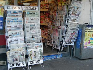 English: Newspaper Rack outside Newsagents, Po...