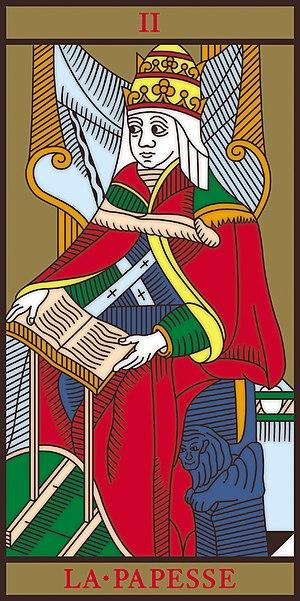 PAPESSE. Papisa, Tarot Marsella