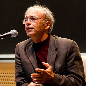 Peter Singer speaking at a Veritas Forum event...