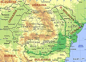 An enlargeable topographic map of Romania