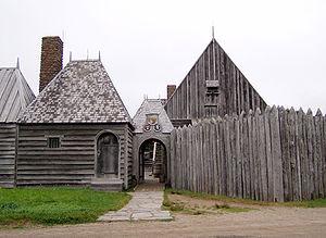 Replica of Champlain's habitation at the Port-...