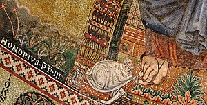 Portrait of Honorius III - Detail of the apse ...