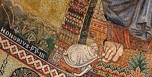 Portrait of Honorius III - Detail of the apse ...