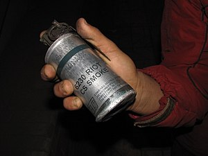 English: American-made tear gas grenade utiliz...