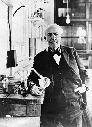 Deutsch: Thomas Edison mit Glühbirne