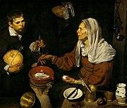 Pintura de género: Vieja friendo huevos (1618), de Diego Velázquez, National Gallery of Scotland, Edimburgo.