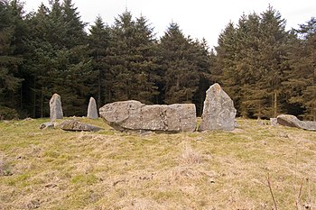 English: Aikey Brae Stone Circle Thought to be...