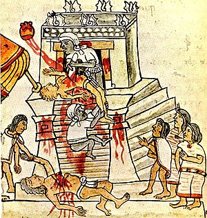 English: Aztec ritual human sacrifice portraye...