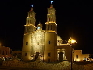 Dolores Hidalgo Church at night.