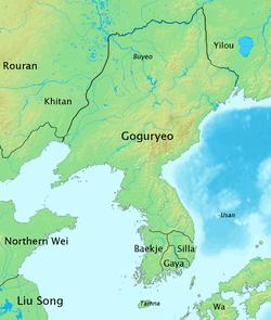 Peta Tiga Kerajaan Korea pada akhir abad ke-5