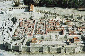 Maqueta de una reconstrucción de la ciudad de Jerusalén (siglo I)