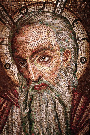 Moses mosaic on display at the Cathedral Basil...