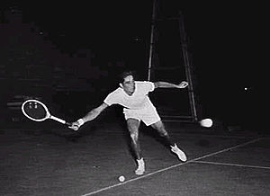 American tennis player Pancho Gonzales in a pr...