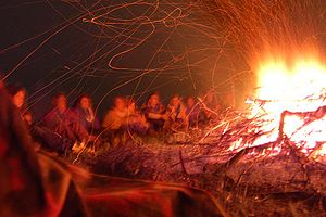Scouts around a campfire