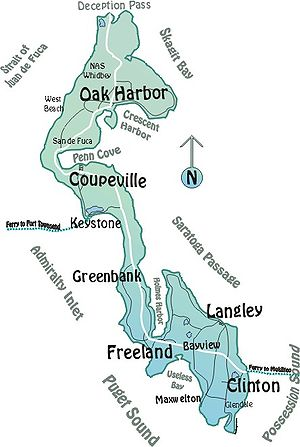 Map of Whidbey Island, WA (using CorelDraw)