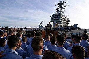 President George W. Bush addresses sailors dur...