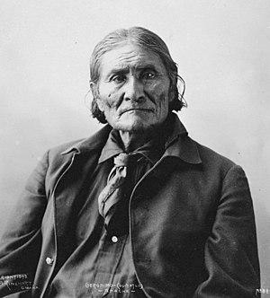 Geronimo, Chiricahua Apache leader. Photograph...