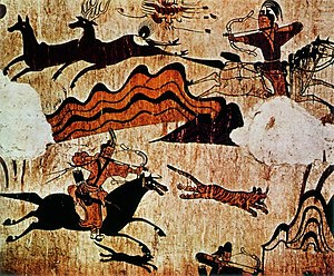 Hunting scene from the North wall of the main ...