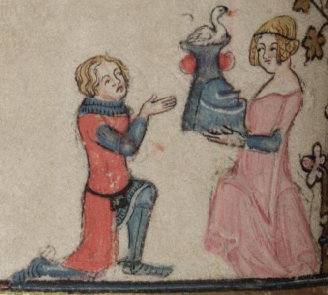 File:Kneeling knight received a swan-crested helmet.jpg