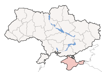 Political map of Ukraine, highlighting Crimean...