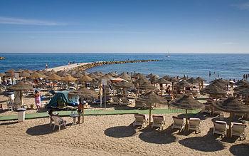 English: The beach in Marbella in the Costa De...