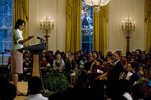 First Lady Michelle Obama speaks to visiting 6...