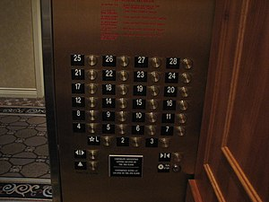 Elevator buttons showing the missing 13th floor