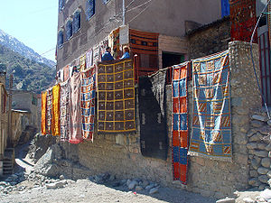 English: Drying carpets in a village factory (...