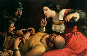 English: Delilah betraying Samson, and turns h...
