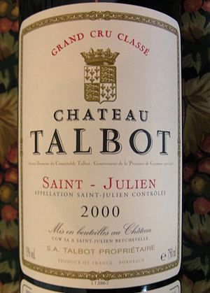 Label from a bottle of 2000 Chateau Talbot